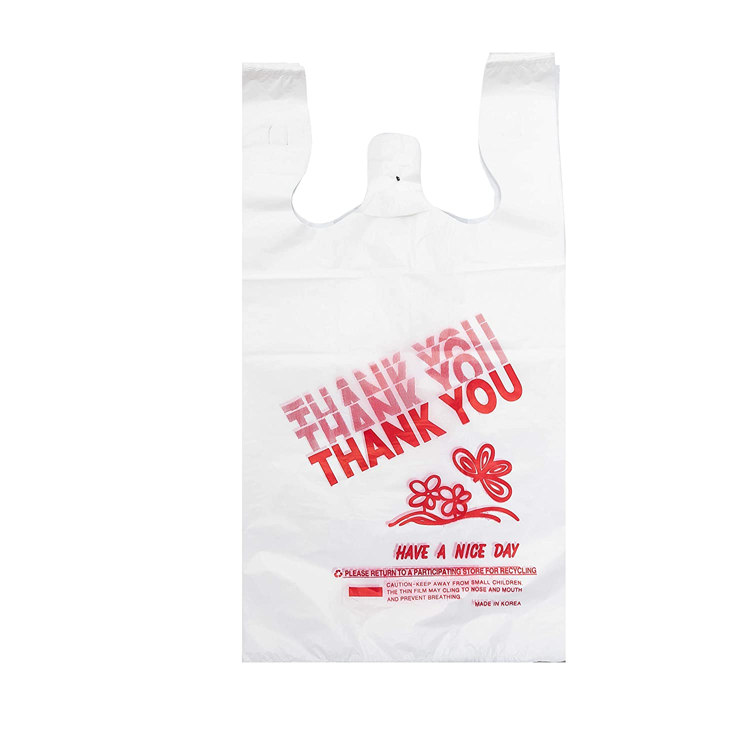 "Thank You Bags (400 Count), Plastic T-Shirt Bags Bulk, Plastic Shopping Bags, Plastic Grocery Bags with Handles Bulk, Plastic Retail Bags, 12"" X 7"" X 22"" 17 Mic (0.67 mil), by HY"