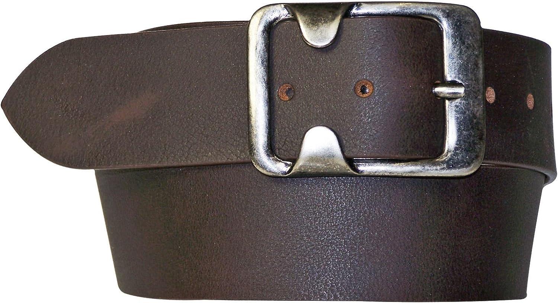 men silver buckle genuine leather women dark brown belt FRONHOFER Wide belt