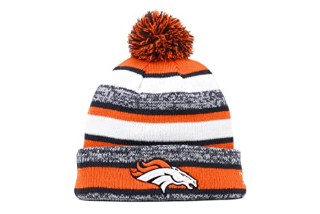 new style bcead b5d57 Image Unavailable. Image not available for. Color  Denver Broncos 2014 On  Field Sport Cuffed Pom Knit Beanie Hat   Cap