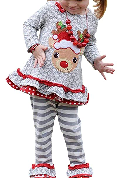 c82919e2d04da Amazon.com: Kids Baby Girls Christams Cartoon Reindeer Long Sleeve Shirt  Dress Stripe Pants Xmas Gift Set: Clothing