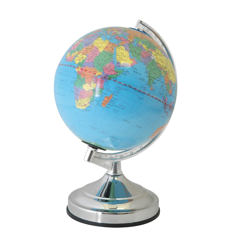 Lloytron World Globe Lamp 4 Way Touch Control Desk Light Chrome