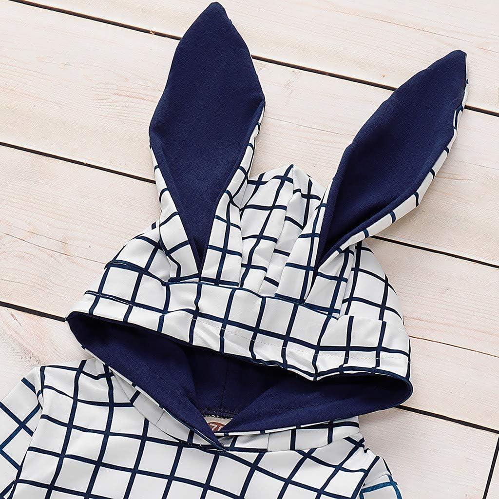 Cwemimifa Kleinkind Kinder Baby M/ädchen Outfits Lange /Ärmel Hasenohren Plaid Sweatshirt Kapuzen-T-Shirt Tops Schaltfl/ächen Lange Hosen Kleidung Set