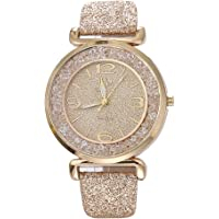 Womens Crystal Quartz Watches,Ulanda-EU Numeral Analog Clearance Lady Wrist Watch Female watches on Sale Watches for Women,Round Dial Case Shiny PU Leather Wristwatch ws63 (Gold)