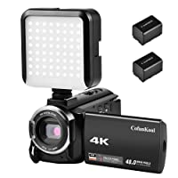 CofunKool 4K Camera Camcorder 48MP 16X Digital Zoom Wifi Mini DV 60FPS Video Camera with 3.0 IPS Touch Screen, LED Video Light and 2*Batteries