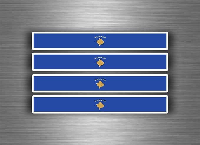 Akachafactory 4 X Selbstklebend Sticker Auto Moto Stripes Flagge Tuning Kosovo Auto