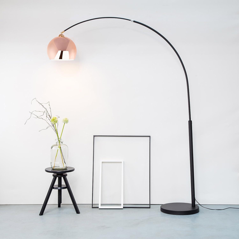 Moderne Kupfer Bogenstehleuchte, Bogenlampe im Retro Lounge Design, H H H 200 cm, 1x E27 max. 60W, Metall, kupfer schwarz 4a3b12