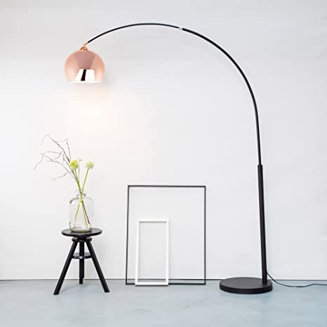 En forma de arco de pie de lámpara de mesa, lámpara de cobre con diseño de salón de altura de 2 M