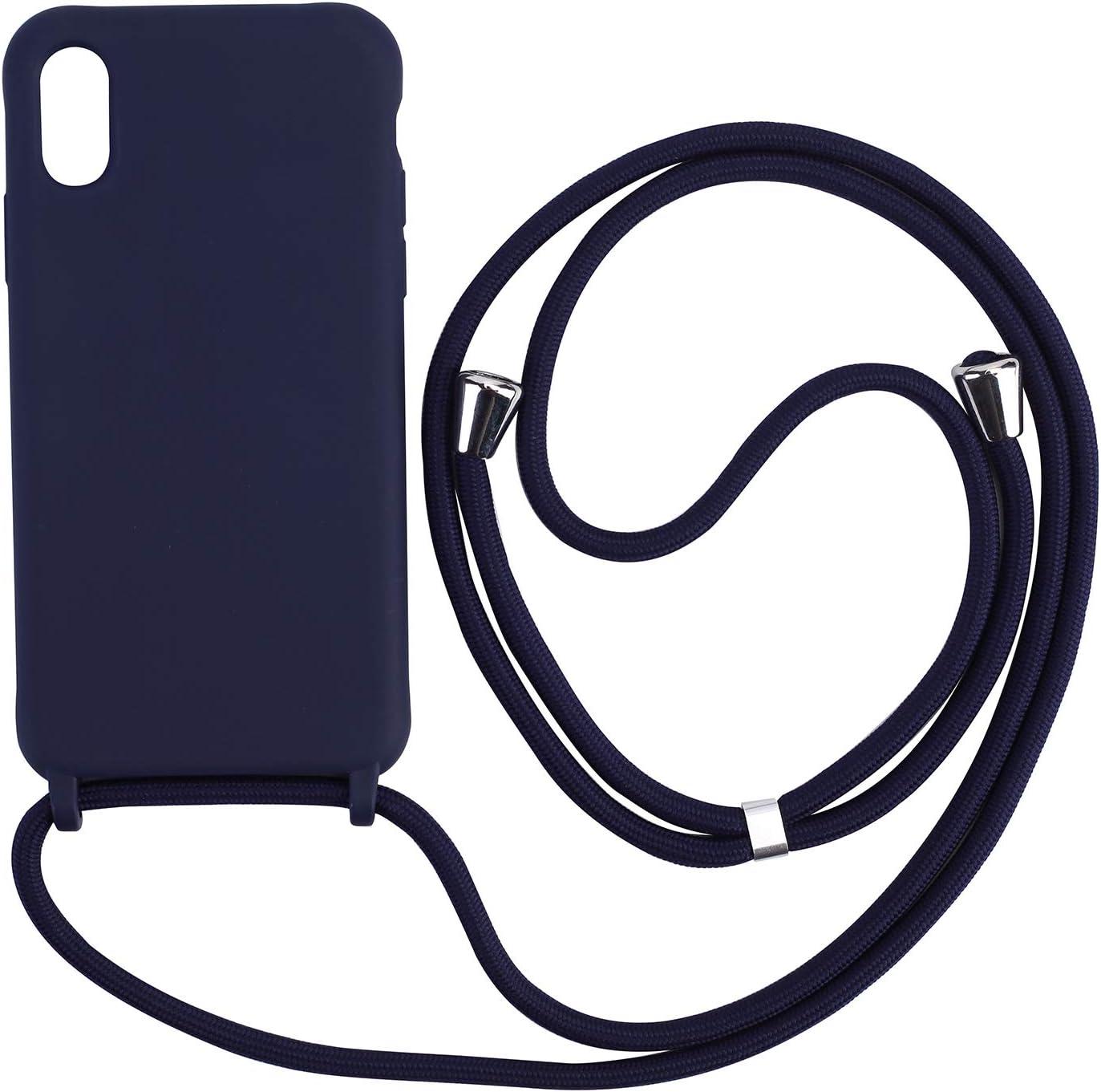 Ququcheng Funda Compatible con iPhone X//XS,Ajustable Collar Correa de Cuello Cord/ón Cuerda Carcasa TPU Bumper Silicona Skin Caso para iPhone X//XS-Verde