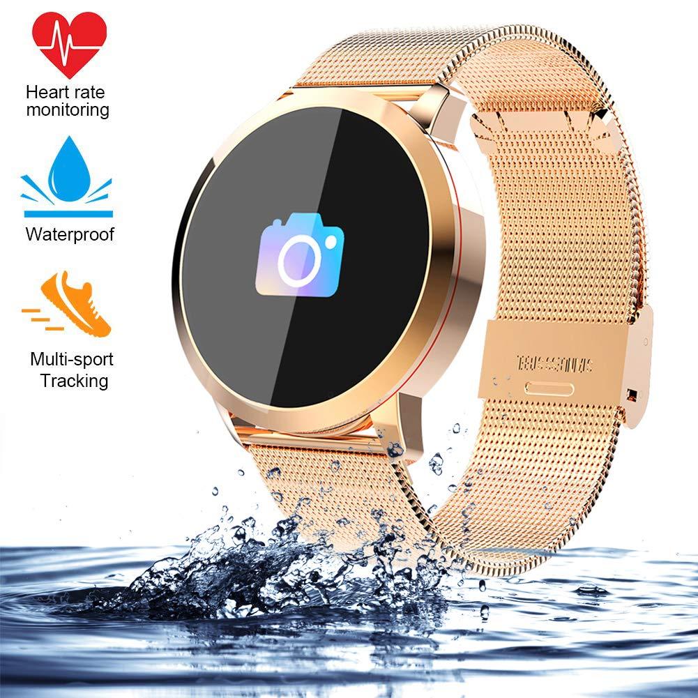 Smart watch Correa de Acero, Reloj Inteligente táctil, Largo Tiempo de Espera, presión Arterial, presión sanguínea, oxígeno y calorías, Pulsera ...