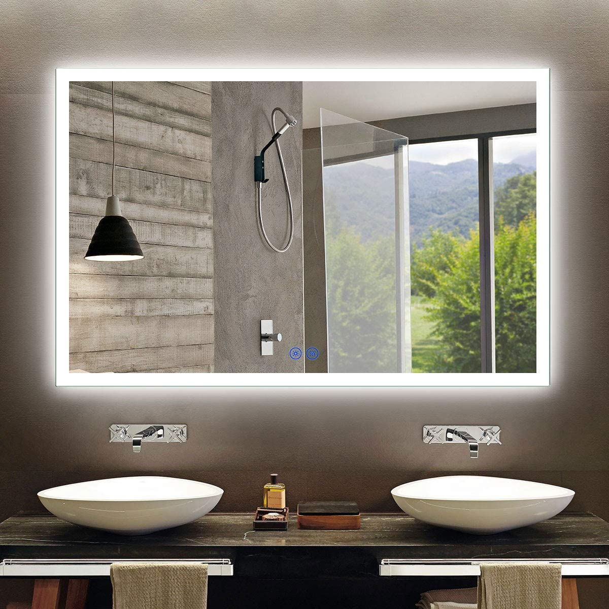 Amazon Com Large Horizontal Rectangle Mirror Led Illuminated Backlit Wall Mount Bathroom Vanity Mirrors Hotel Office Bar Mirror 55 X 36 Inch D N031 C Kitchen Dining