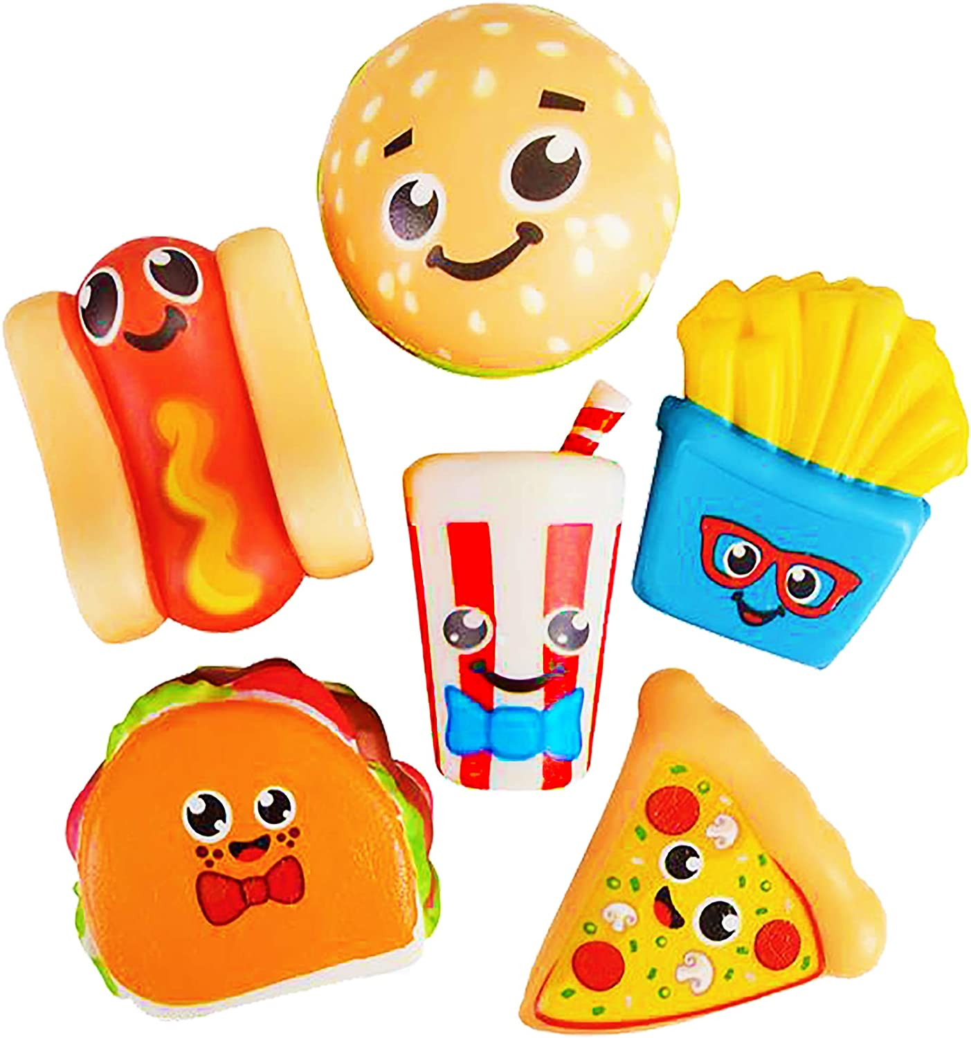 6 Squishy Toys for Kids Fast Food, Slow Rising Squishies - Cute Pack Taco Pizza Burger 3.75 Inch - Stress Relief Fidget Soft Squeeze Kawaii Toy Great Gift for Boys & Girls by 4E's Novelty