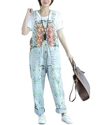 d2747ab6dd5 Aeneontrue Women s Casual Floral Denim Wide Leg Bib Overalls Pants Front  Buttons Open (L