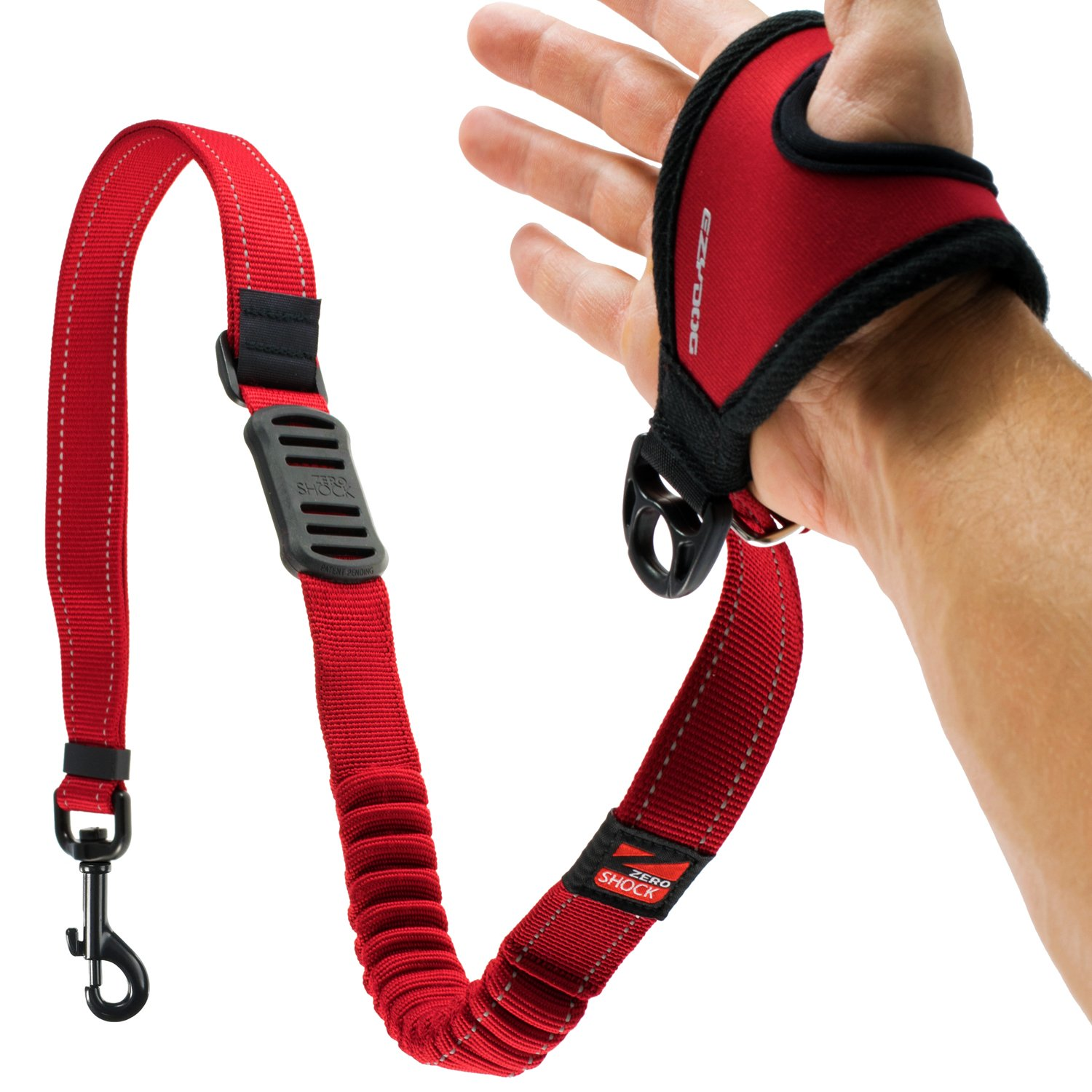 EzyDog HANDY 48 Bungee Dog Leash - The Best Hands-Free Running Leash Training Lead with Superior Control and Reflective Stitching - ZERO SHOCK Shock-Absorbing Technology (Adjustable 36'' - 48'', Red)