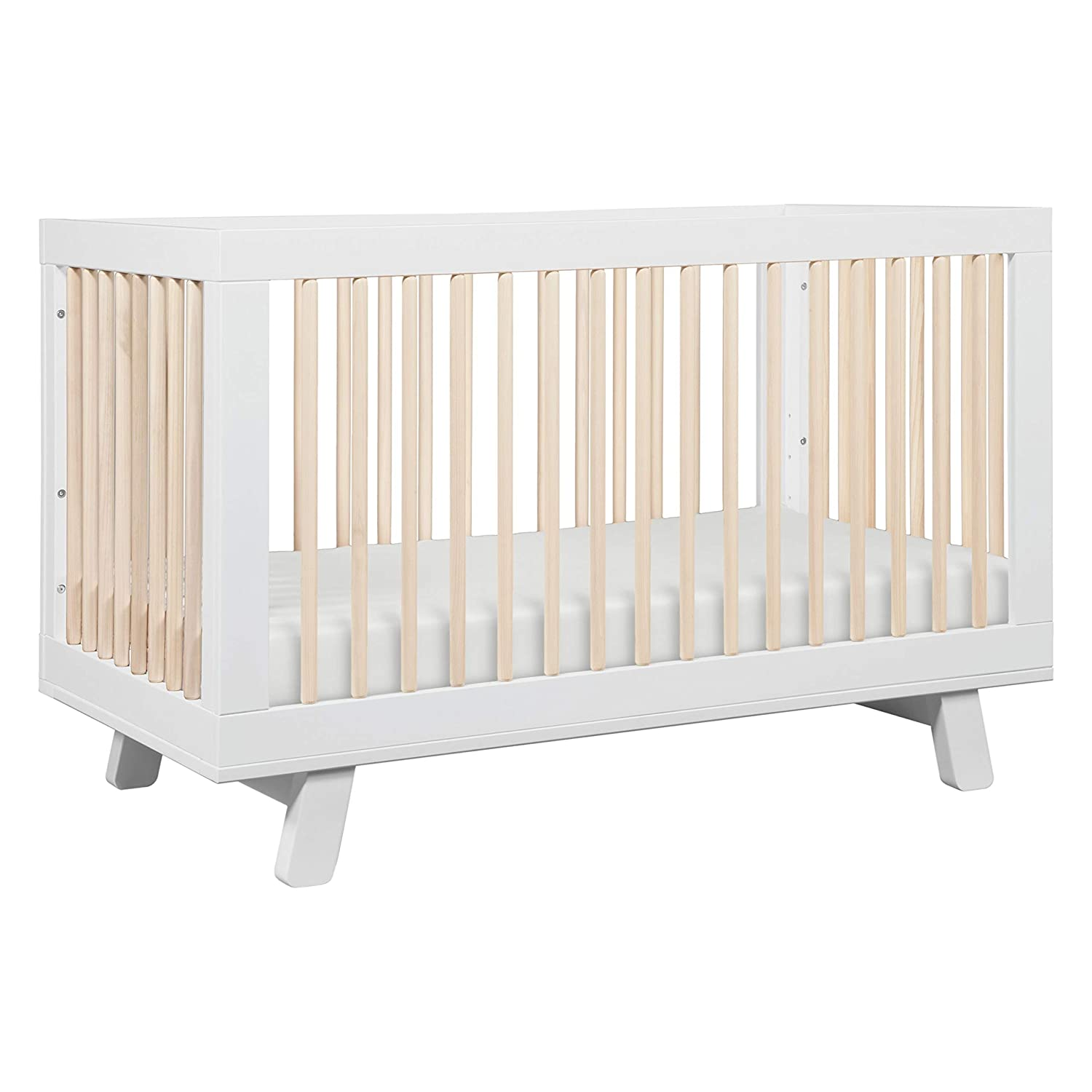 Babyletto Hudson 3-in-1 Convertible Crib with Toddler Bed Conversion Kit in White / Washed Natural, Greenguard Gold Certified