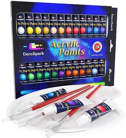 Is Acrylic Paint Toxic >> Amazon Com Acrylic Paint Set 24 X 12ml Tubes 3 Free Brushes And