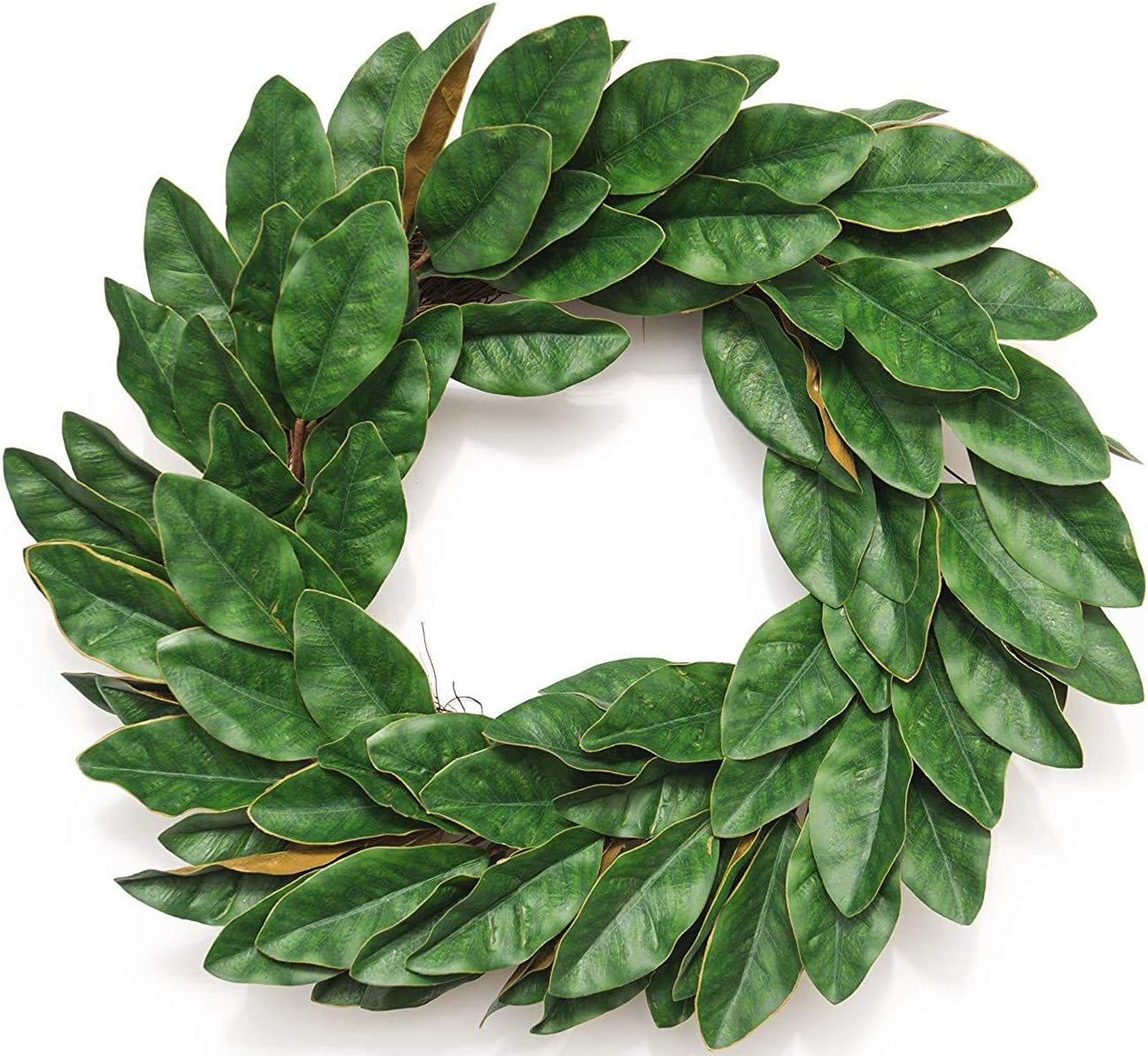 Huashen Spring Magnolia Large Wreath, Green PU Leaf on Grapevine Farmhouse 24 inch for Everyday Indoor, Front Door