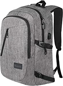 17.3 Inch Laptop Backpack, Large Travel Laptop Backpack with USB Charging Port, Anti Theft Water Resistant Business Backpack for Men and Women, Mancro Durable Lightweight School College Bag, Grey
