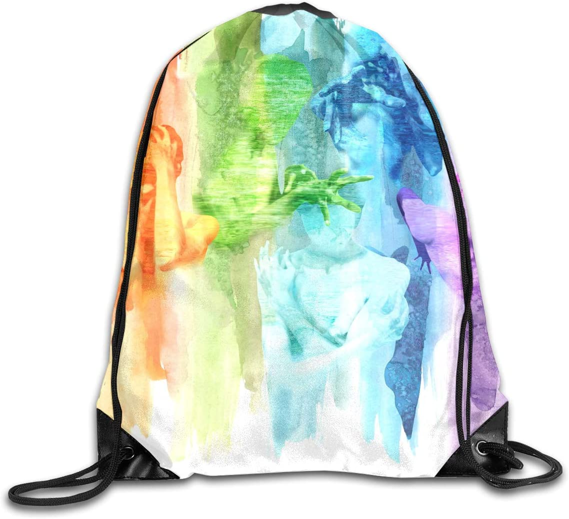 CoolStuff Travel Shoe Bags,Rainbow Water Painting Drawstring Backpack Hiking Climbing Gym Bag,Large Big Durable Reusable Polyester Footwear Protection