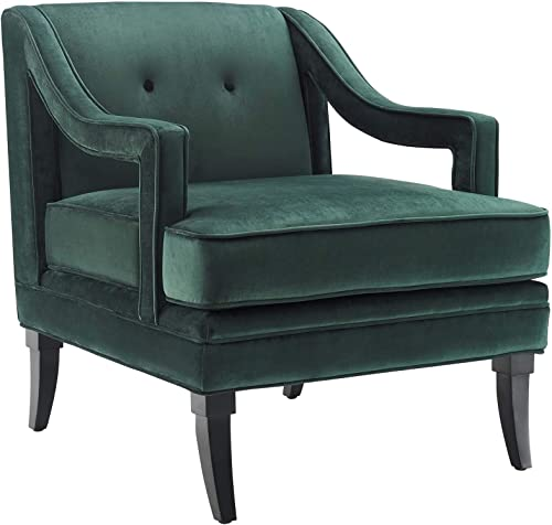 Modway Concur Mid-Century Modern Upholstered Velvet Accent Lounge Arm Chair In Green