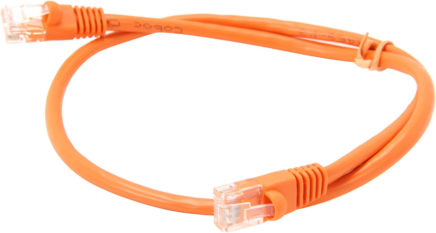 CY-CAT5E-02-OR Coboc 2-Feet 24AWG Snagless Cat 5e 350MHz UTP Ethernet Stranded Copper Patch Cord Network Orange Cable