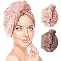 2 Pack Hair Towel Wrap,Hair Drying Towel with Button, Microfibre Hair Towel, Dry Hair Hat, Bath Hair Cap, Lady Bath Head…