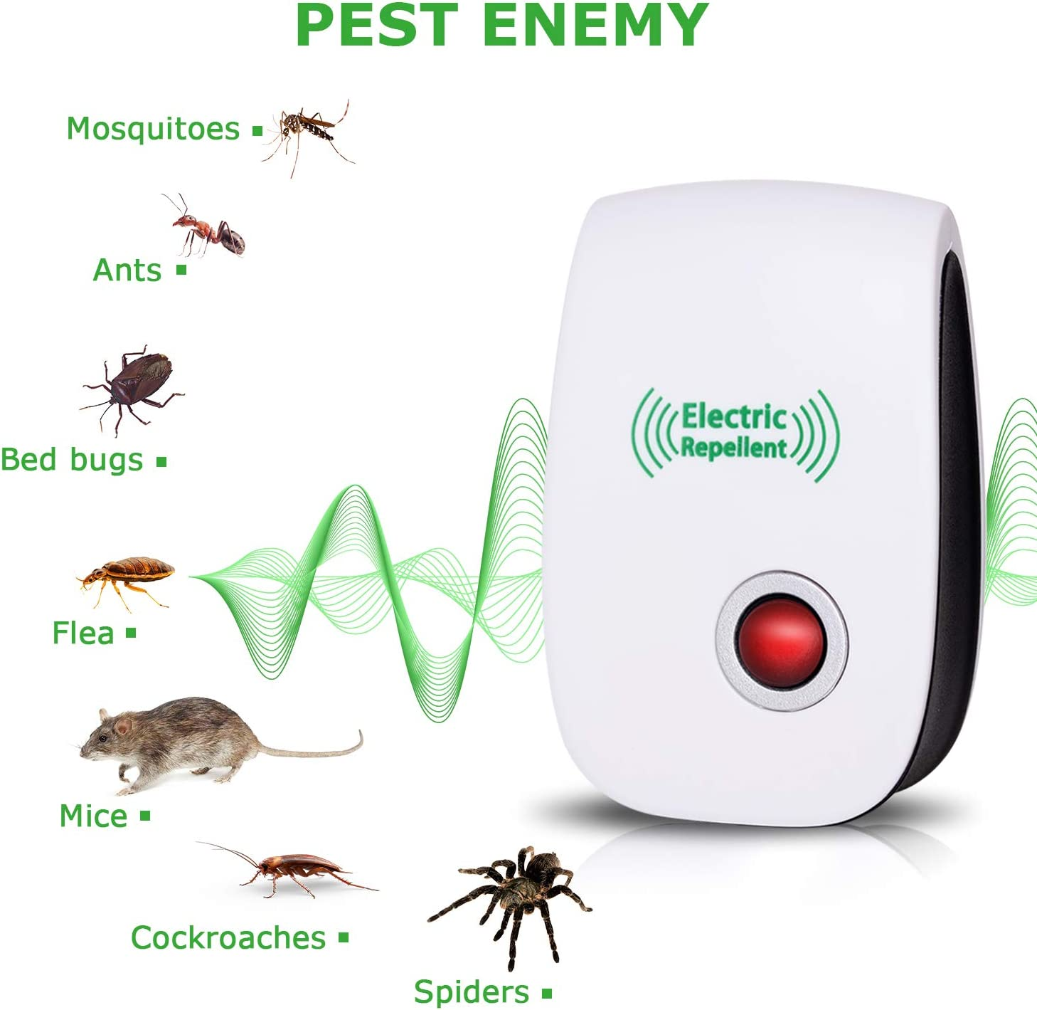 2020 Newest Ultrasonic Electronic Pest Repellent, Pest Repeller Plug in Indoor Usage, Best Pest Repell to Bugs, Insects Mice, Ants, Mosquitoes, Spiders, Rodents and Roach(6 Packs) : Garden & Outdoor