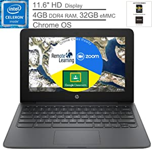 """HP Chromebook 11.6"""" Laptop Computer for Student, Intel Celeron N3350 up to 2.4GHz, 4GB DDR4 RAM, 32GB eMMC, Microphone, Webcam, Type-C, Chrome OS, BROAGE Mouse Pad + 64GB SD Card, Online Class Ready"""