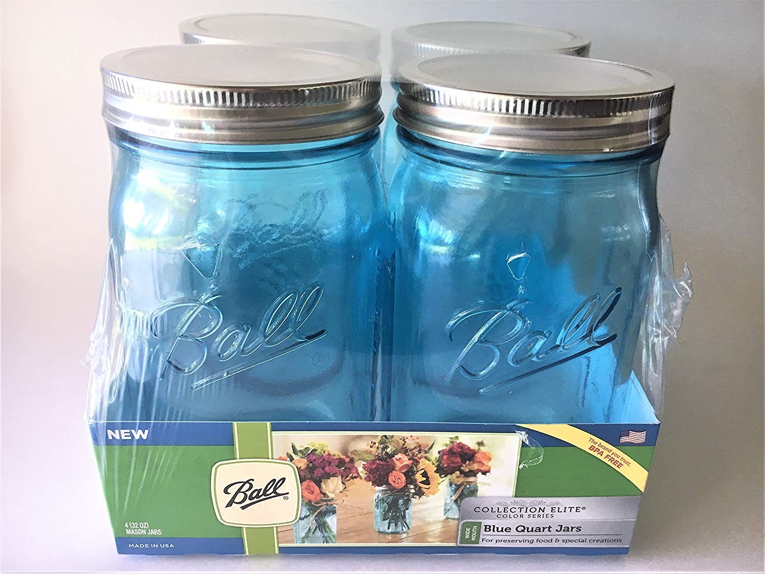 Ball Mason Jar-32 oz. Aqua Blue Glass Ball Collection Elite Color Series Wide Mouth-Set of 4 Jars by Ball