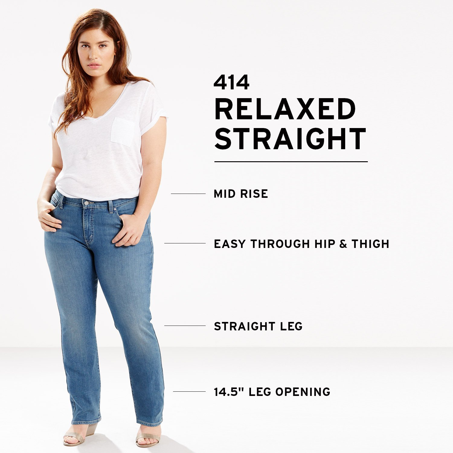 Levi's Women's Plus Size 414 Classic Straight Jean's, Oak Blues, 38 (US 18) R by Levi's (Image #5)