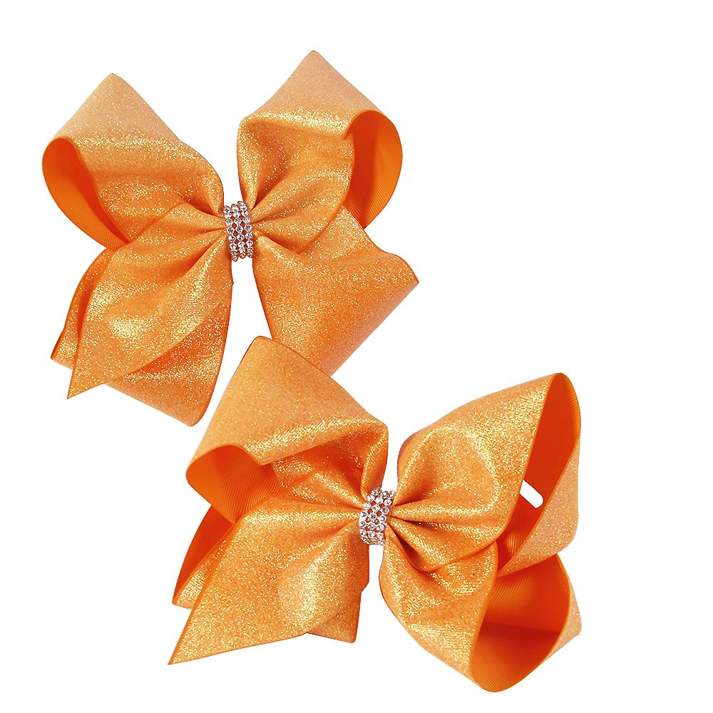 8'' Hair Bows With Alligator Clips Glitter Grosgrain Ribbon Bow Accessories Cheer Bows Boutique For Girls Babies Teens Kids Toddlers 2Pcs (orange)