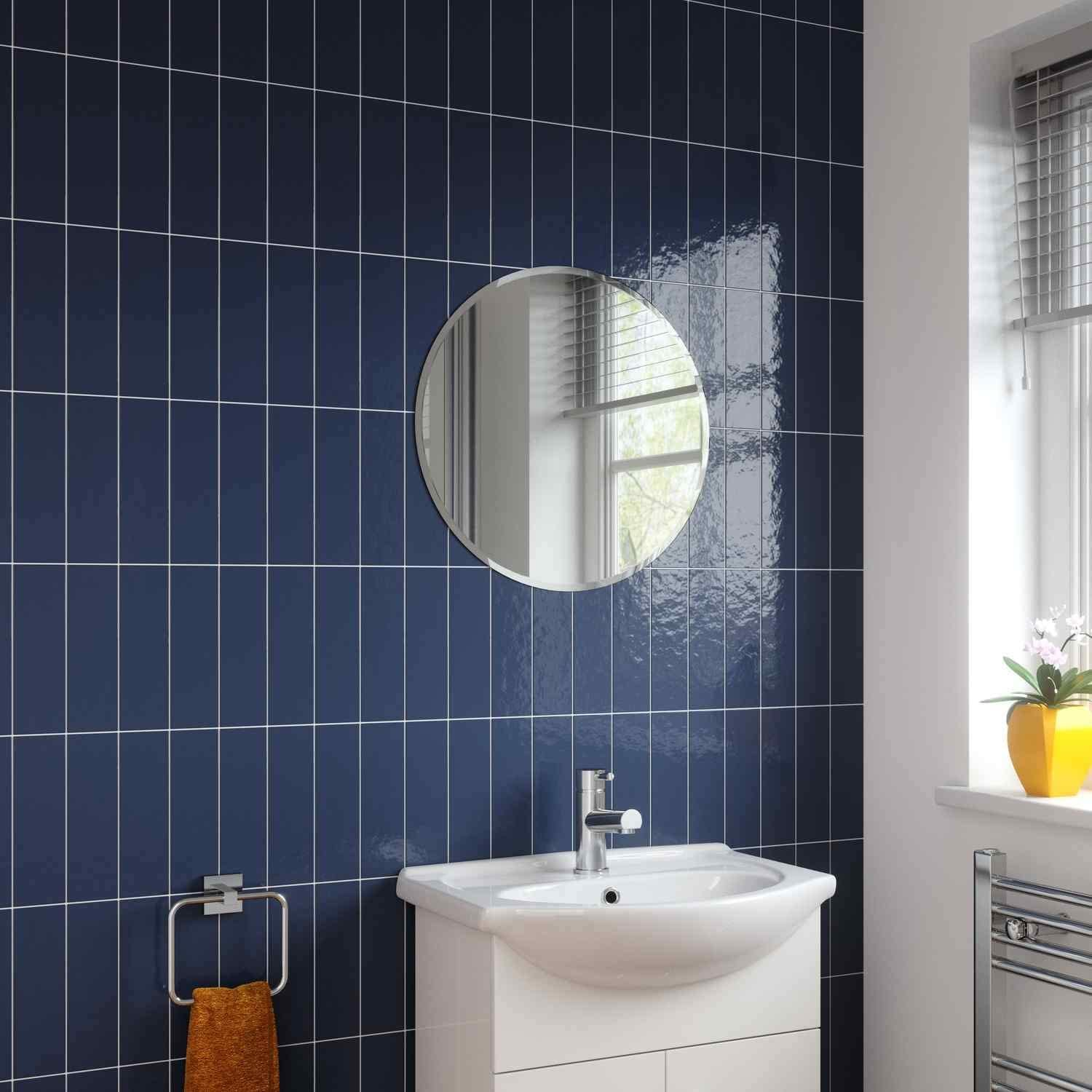 Bathroom Mirror Modern Rectangle Frameless Bevelled Wall Mounted 450 X 300mm Furniture Home Kitchen Umoonproductions Com