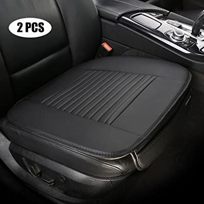 EDEALYN (19.7 inches deep × 20.87 wide) (2PCS) PU leather Car seat cover Car Accessories Car Seat Protector Seat Covers Universal Car (Black-N): Automotive