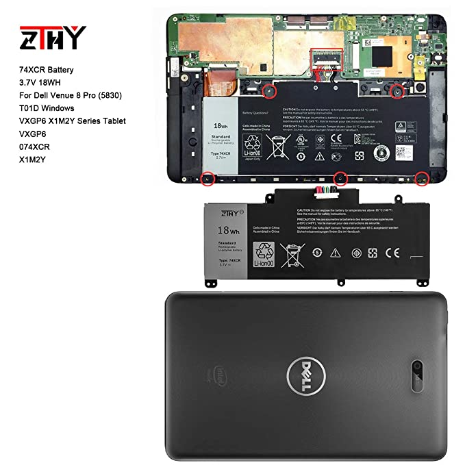 ZTHY 3 7V 18WH Laptop Battery 74XCR For Dell Venue 8 Pro (5830) T01D