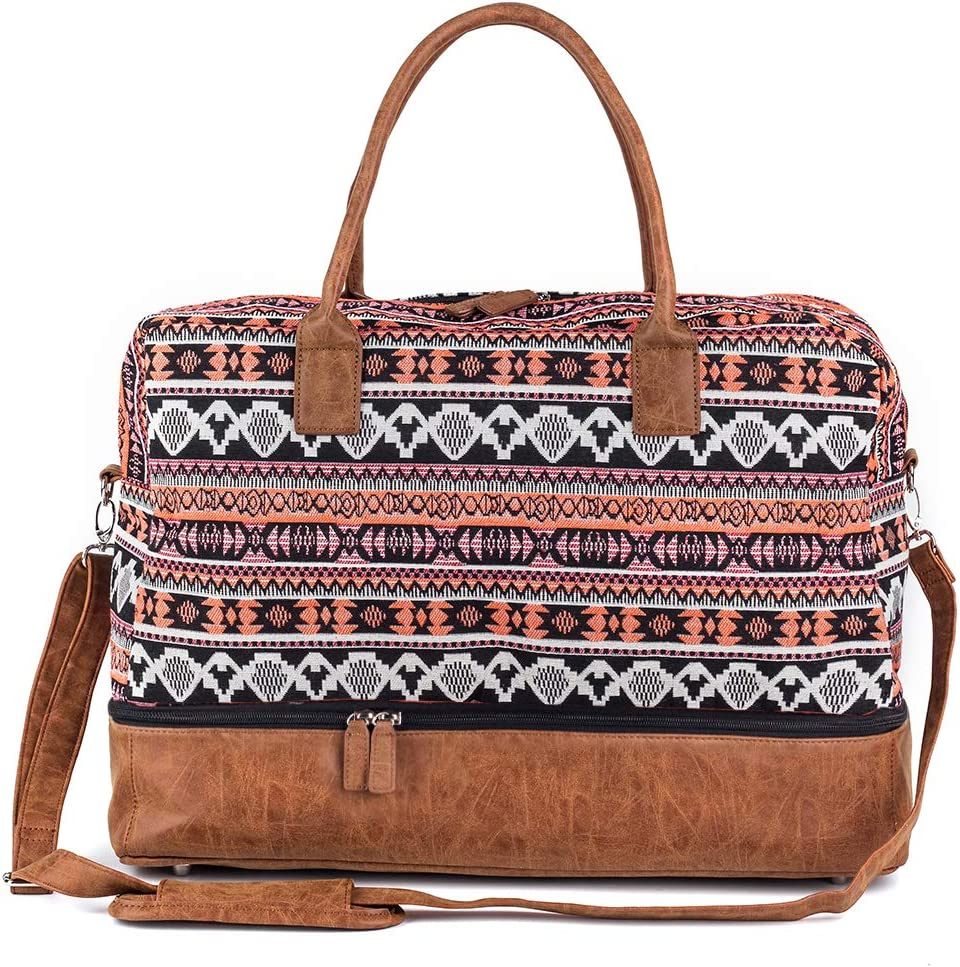 Women Canvas Travel Weekender Overnight Carry-on Duffel Bag with Shoe Compartment Orange