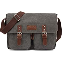 FANDARE Vintage Bolso de Bandolera Lona Bolsa de Mensajero Ampliable Mensajero Crossbody Bag Hombres Mujeres Bolsa de…