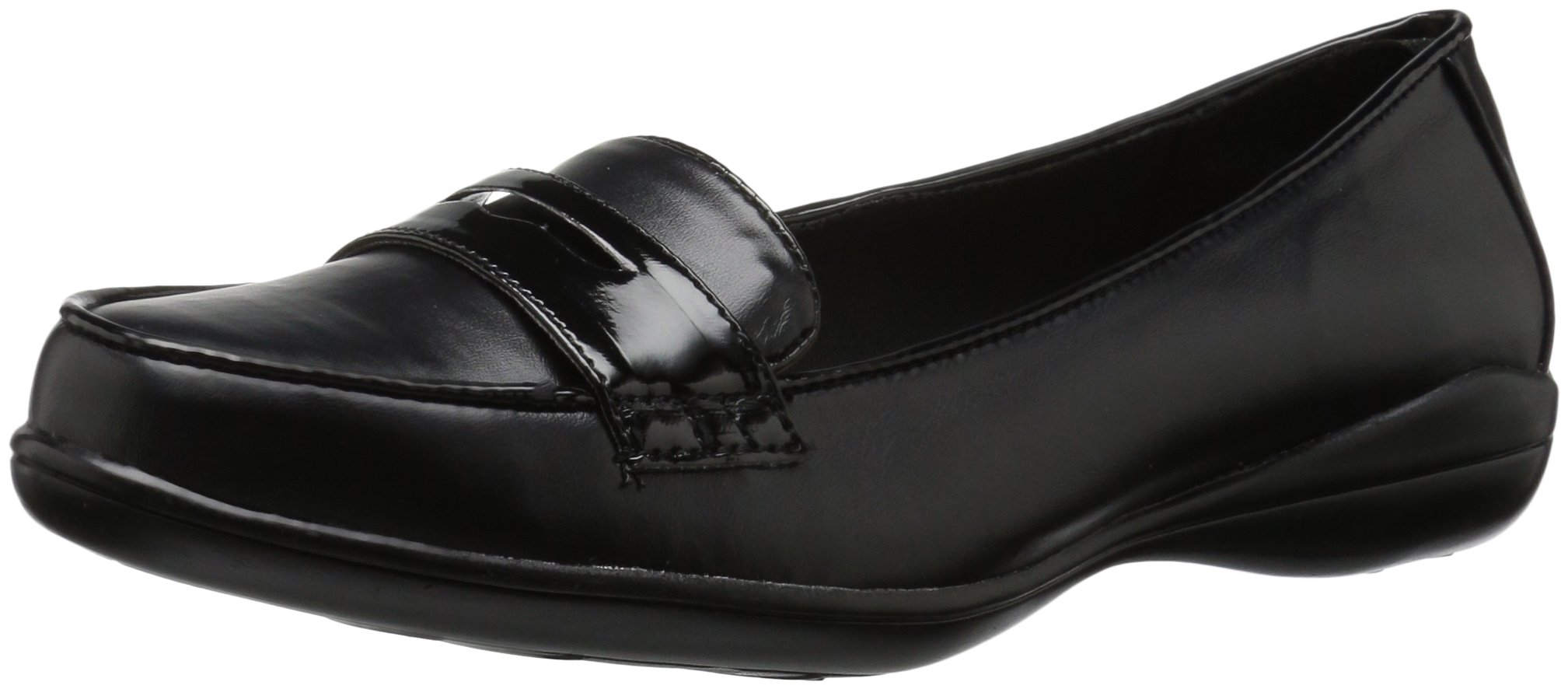 Soft Style by Hush Puppies Women's Daly Penny Loafer, Black Vitello/Patent, 9.5 W US