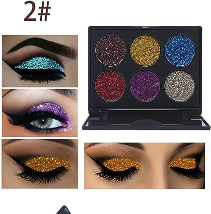 Glitter Polvo Paleta de Maquillaje Profesional, Ruwhere 6 Colores ...