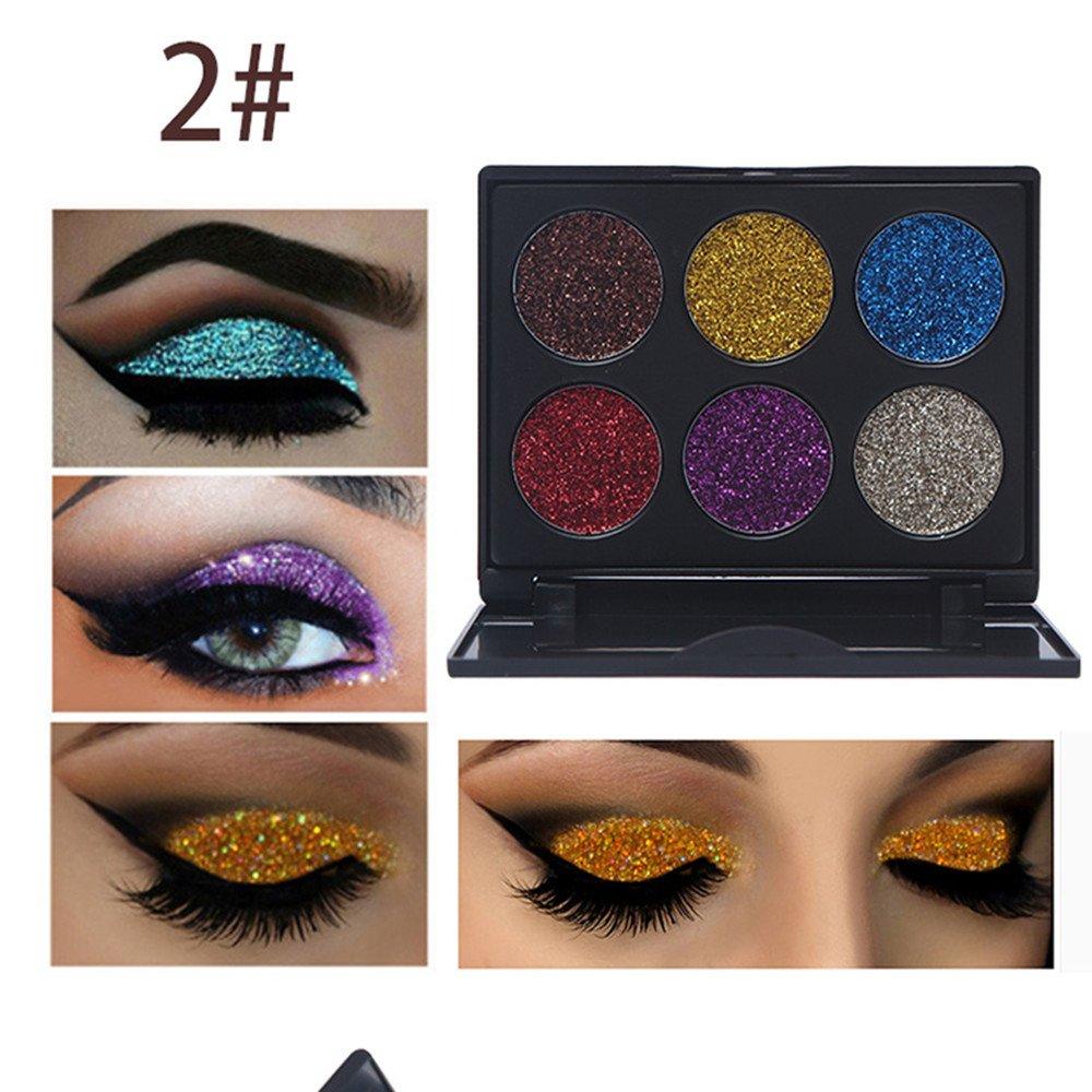 Rwhere Professionelle Glitzer Lidschatten Makeup Set - Langlebige Lidschatten Palette - Schminke Gesicht Pigmente Powder Makeup Kit (6 Farben) (Farben2) Ruwhere