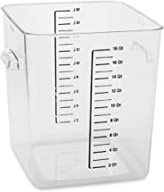 Rubbermaid Commercial Products Plastic Space Saving Square Food Storage Container For Kitchen/Sous Vide/Food Prep, 18 Quart,