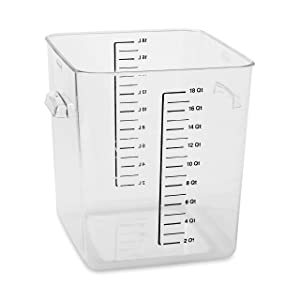 Rubbermaid Commercial Products Plastic Space Saving Square Food Storage Container for Kitchen/Sous Vide/Food Prep, 18 Quart, Clear (FG631800CLR)