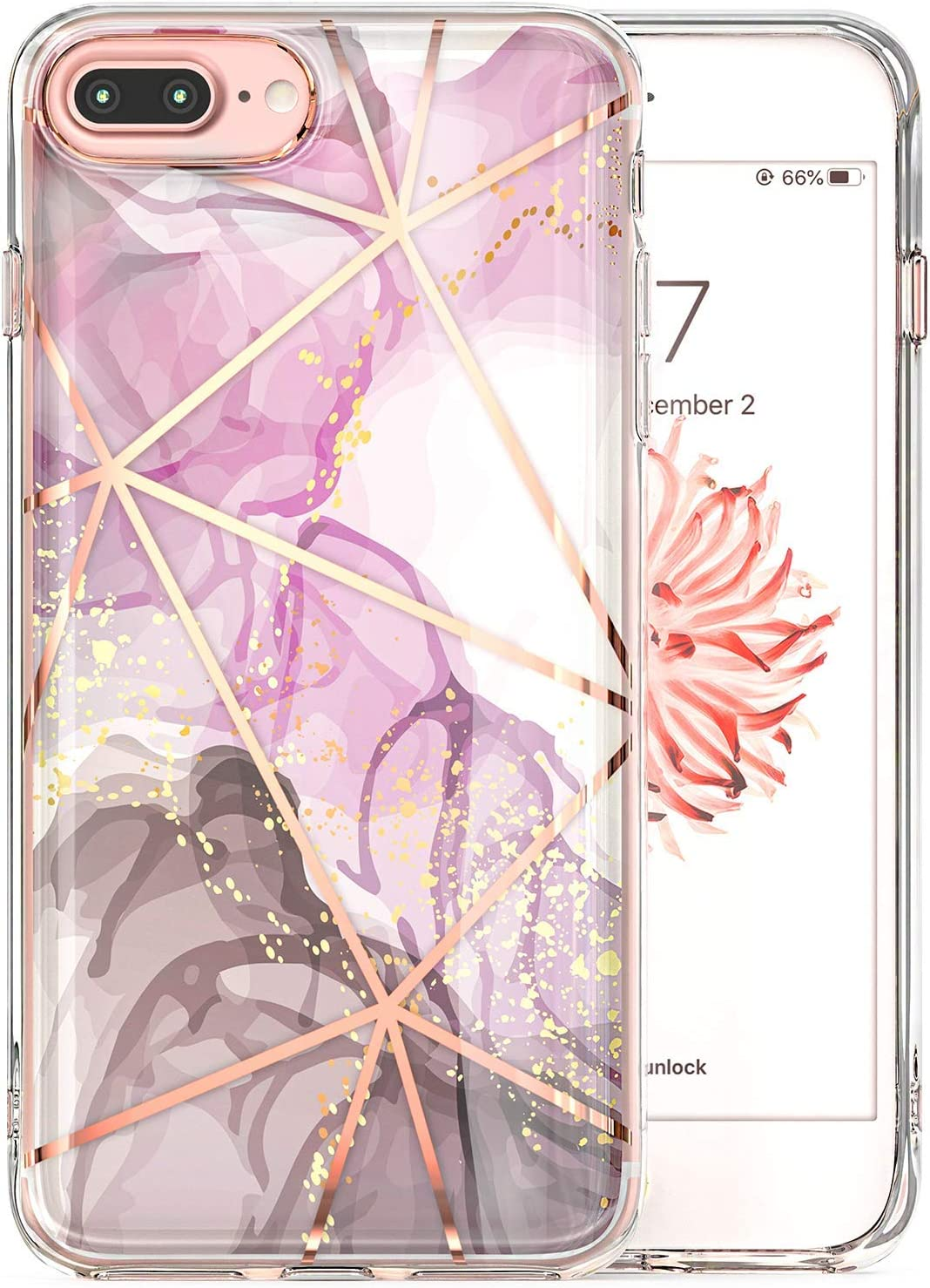 Tenpon iPhone 8 Plus Case, iPhone 7 Plus Case, iPhone 6 Plus Case, iPhone 6s Plus Case, Rose Gold Marble for Women Pink Cute Clear Design Shockproof TPU Flexible Cases Protective Phone Case Cover