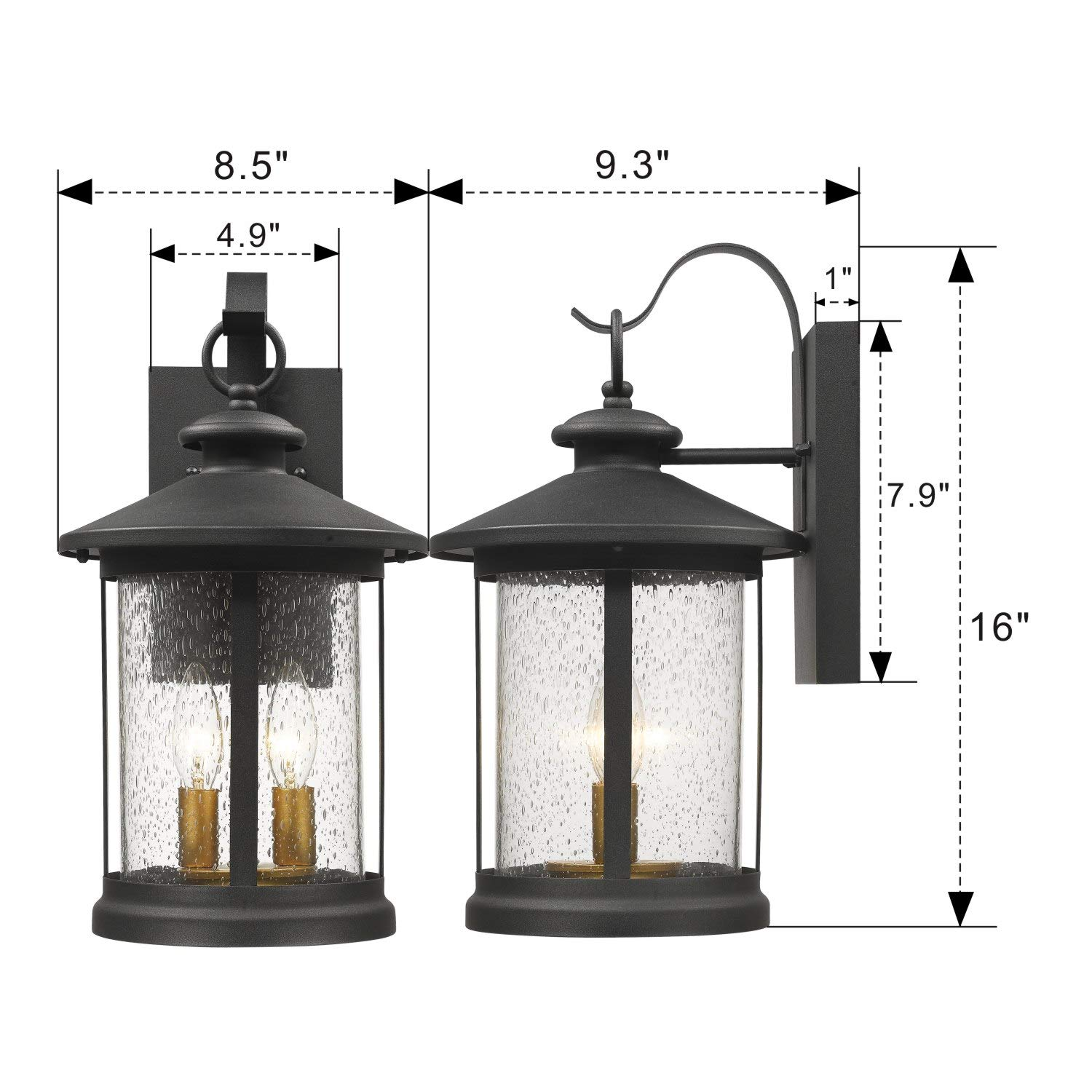 Black Finish with Seeded Glass Zeyu Exterior Pendant Light Lantern 20070H2 2-Light Outdoor Hanging Light Fixture for Porch