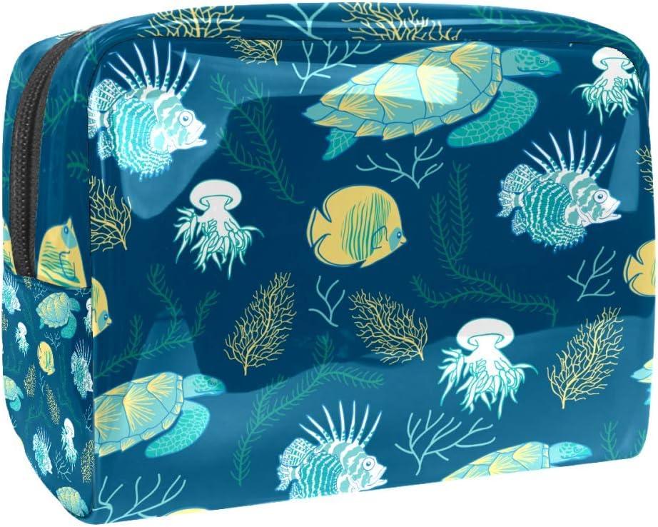 Neceseres de Viaje Estanque de Tortugas Hoja de Loto Portable Make Up Bags Neceser de Práctico Bolsa de Lavado de Baño Viajes Vacaciones Fiesta Elementos Esenciales 18.5x7.5x13cm