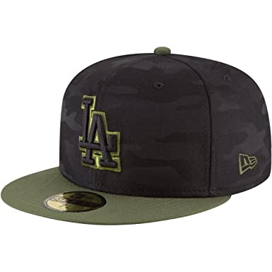 free shipping a467c 2626a Amazon.com  New Era Los Angeles Dodgers 2018 Memorial Day On-Field 59FIFTY  Fitted Hat – Black Olive  Clothing