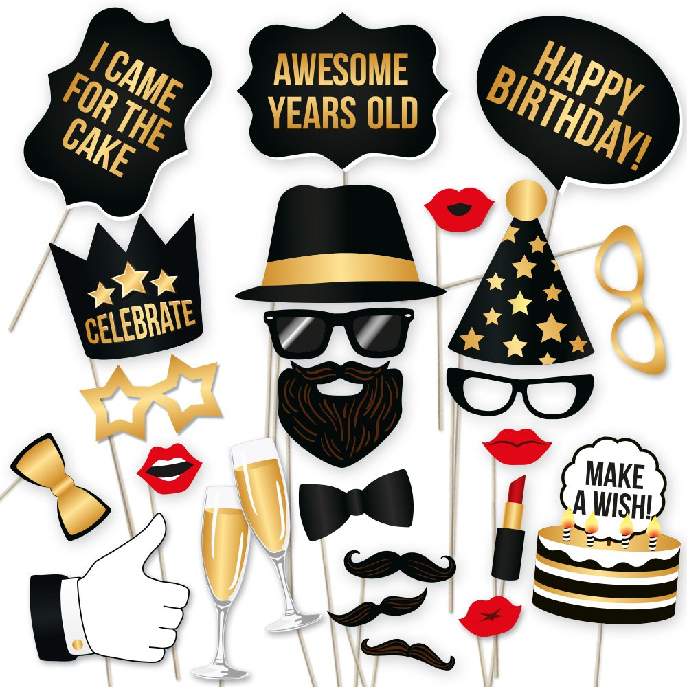 PartyGraphix DIY Happy Birthday Props for Photo Booth Stand - Suitable for His or Hers Party Celebration (34 Count, Black and Gold Kit) by PartyGraphix