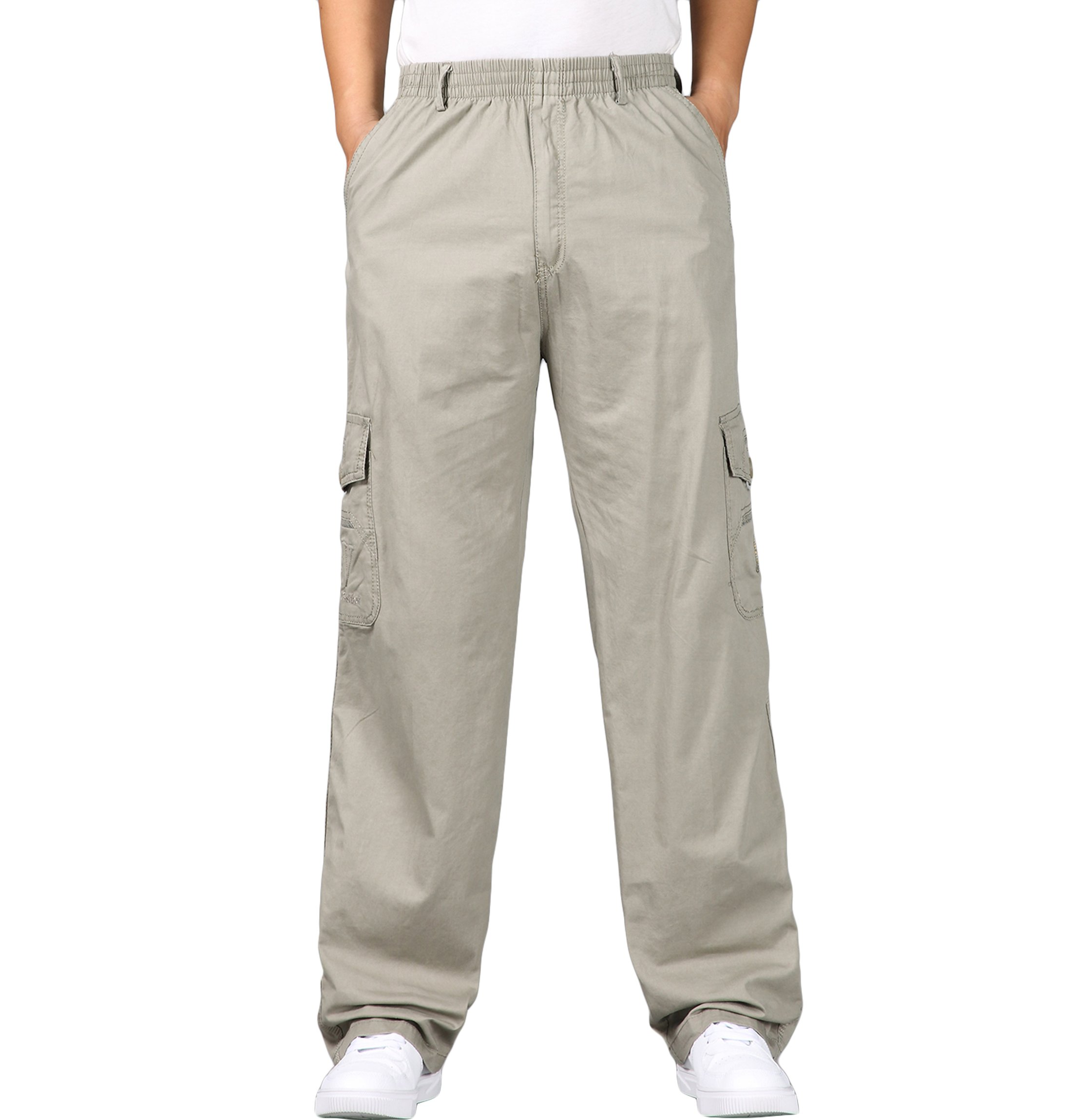 Men's Tactical Pants Military Twill Cargo Pants with Elastic Waist Work Pants
