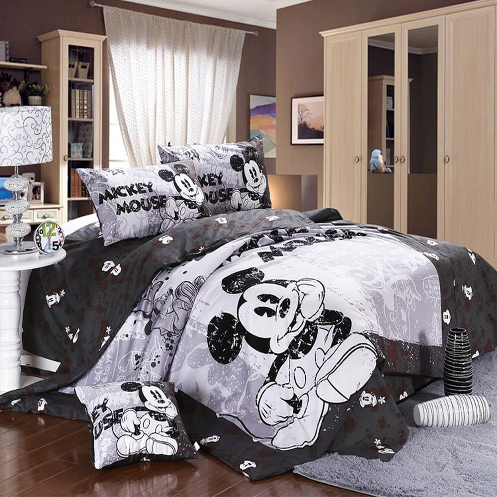 Amazon Com Mickey And Minnie Mouse King Queen Adults Cartoon Bedding Set 4 Pcs Cotton Bed Sheet T4 Grey Linens Doona Duvet Cover And 2 Pillowcase Home Kitchen