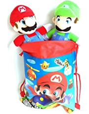 AJEMA Super Mario and Luigi Brothers Soft Been Plush Stuffed Toys Comes in Fun Bag Set of 2