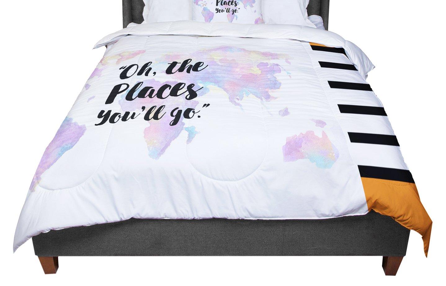 KESS InHouse KESS Original 'The Places You'll Go ' Purple Yellow Twin Comforter, 68' X 88'