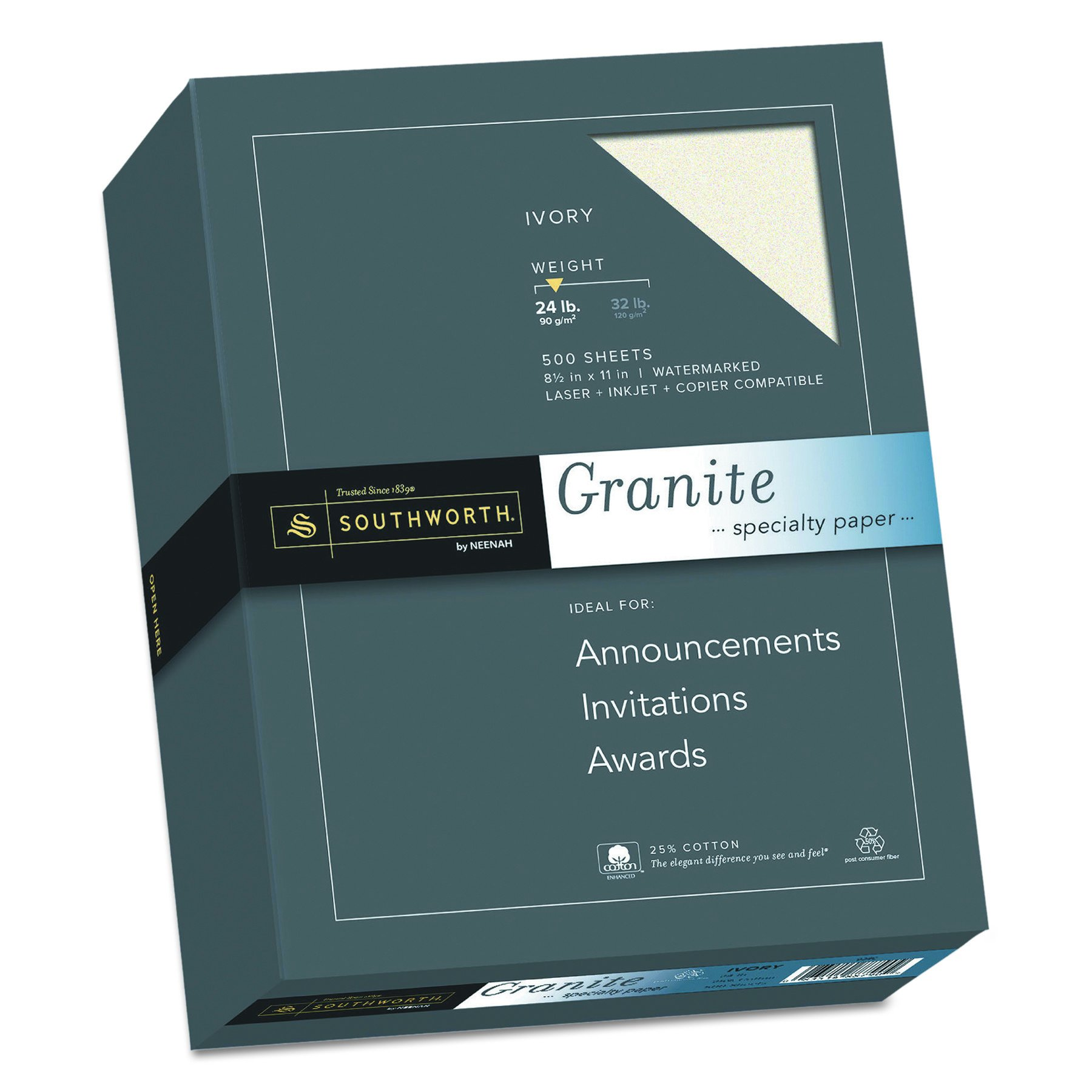 Southworth Granite Specilalty Paper, 8.5 x 11 inches,24 lb, Ivory, 500 Sheets per Box (934C)